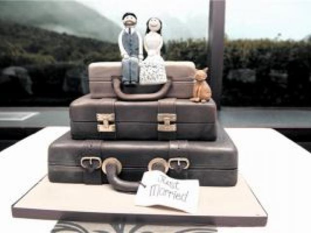 The cake of Isaac MacKintosh and Clare Mackay, who were married at Mt Cook in May. Photo by Aspiring Photography.