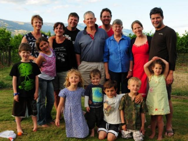 Three generations of the Dicey family gather  in a familiar location, the vineyard. Back row from left: Odelle Morshuis (James' wife), Alison Holland (Matt's wife), Matt, Robin, James, Margie, Sally and Lloyd McGinty (Sally's husband). Front row from left