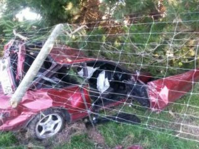 The wreckage of a car in a paddock near Clydevale last night. Photo by Hamish MacLean.