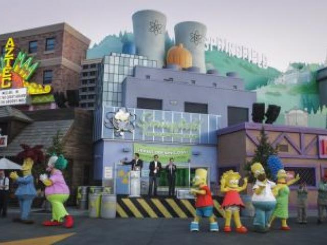 Bart Simpson and co. join in the fun at the opening of Springfield USA at Universal Studios Hollywood. Photo by Universal Studios Hollywood.