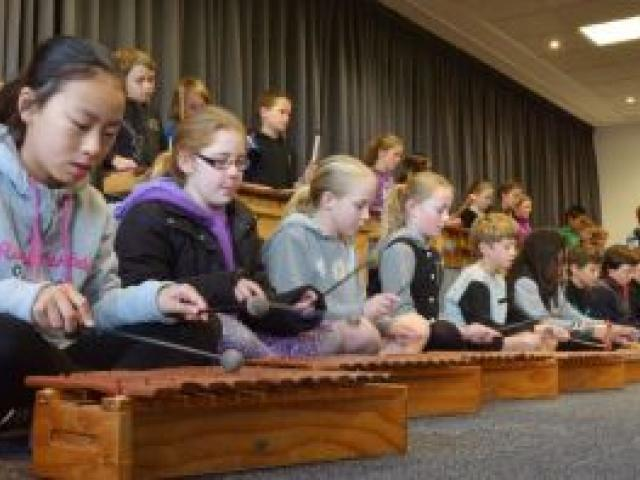 Year 5 and 6 pupils from St Clair School, watched by family and friends, perform at the start of an Otago Primary Principals seminar held at the Dunedin Public Art Gallery yesterday. Photo by Gerard O'Brien.