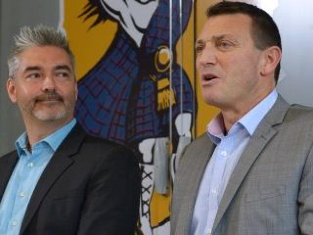 The head of the new Highlanders licence-holder's group, Dunedin businessman Matthew Davey (left), and the franchise's general manager, Roger Clark, address the media at a press conference announcing the change of ownership in Dunedin yesterday. Photo by G