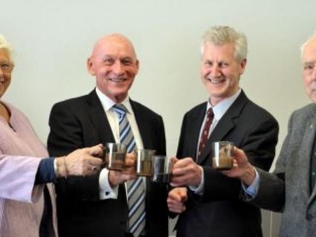 Raising a toast are (from left) New Zealand Heart Foundation life member Shirley Farquhar, Foundation executive director Tony Duncan, Otago Therapeutic Pool Trust secretary/treasurer Neville Martin, and Foundation life member and pool trustee Dr Ted Nye,