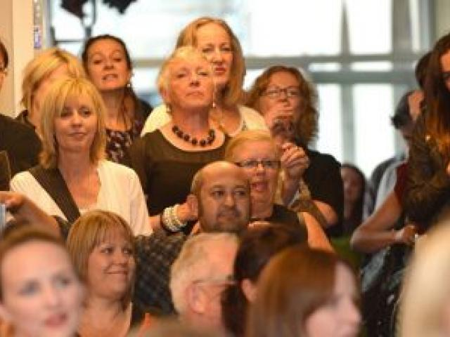 An appreciative audience enjoys a welcome speech by iD Dunedin Fashion Week committee chairwoman Susie Staley, at the official launch of the 15th annual event in the Dunedin Centre last night. Photo by Peter McIntosh.