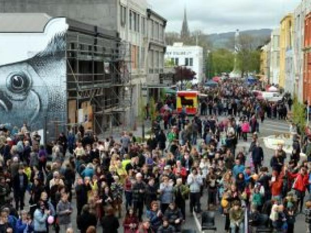Crowds flock to the Vogel St  Party in the warehouse precinct on Saturday, held to show off efforts of developers and the Dunedin City Council to breathe new life into the historic area. Photo by Gregor Richardson.