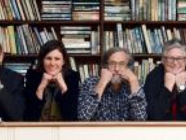 In the Athenaeum Library yesterday (from left) Dunedin Writers and Readers Festival Trust member Annie Villiers, Katherine Quill, poet and editor David Howard, festival director Alexandra Bligh, Cold Hub Press publisher Roger Hickin, trust member Bridget