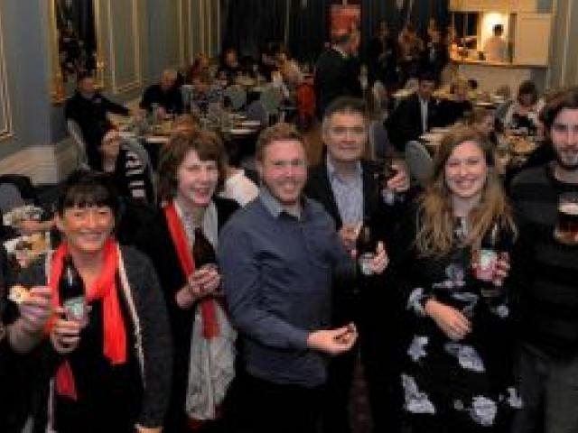 At the launch of the 2014 Dunedin Craft Beer and Food Festival at Dunedin Casino last night are (from left) Richard Emerson, Sue Harvey, Liz Rowe, Dan Hendra, Dave Cull, Ruby Sycamore-Smith and Bart Acres. Photo by Craig Baxter.