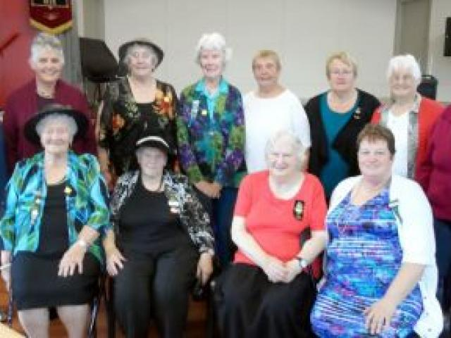 Mid-Otago Federation of Women's Institute service medals went to (standing from left) Doris Kinraid, Janefield WI 50-year service; Avelda Howie, Abbotsford WI 50-year service; Rosemary Isaac, Janefield WI good service; Betty Jordan, Concord WI 40-year ser