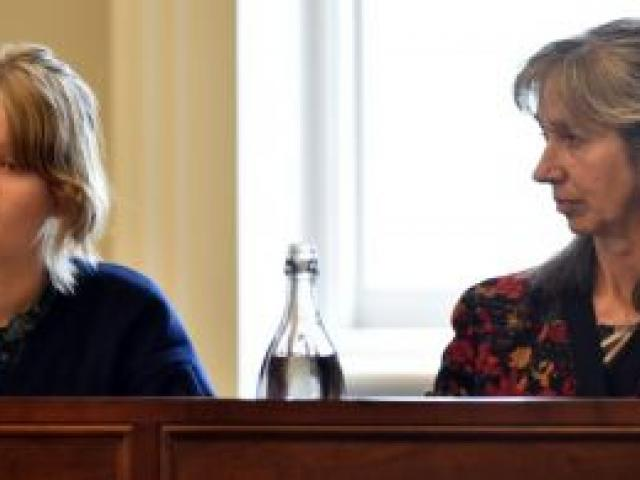 Oil Free Otago activists Siana Fitzjohn (left) and Rosemary Penwarden address a Dunedin City Council forum yesterday. Photo by Gregor Richardson.