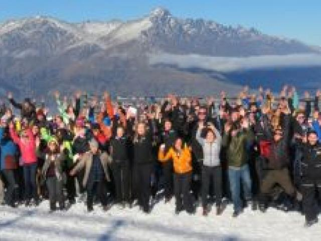 About 350 NZSki staff  assemble at Coronet Peak for staff induction yesterday ahead of the ski area's scheduled opening in Queenstown on Saturday. Photo by Tracey Roxburgh.
