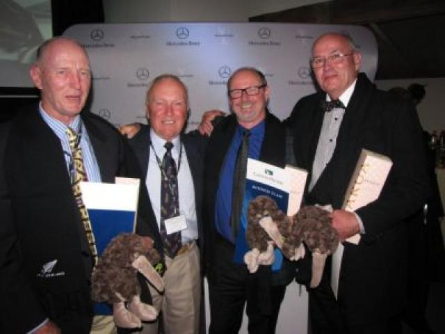 (From left) Wanaka golfer Michael Bayliss, winner of the 2014 Mercedes Trophy, Hamilton's Larry Olsen, ( who won the Drive to the Major and a trip to Royal Liverpool for The Open Championship, Mercedes Trophy second place-getter Mark Jeffries, of North Sh
