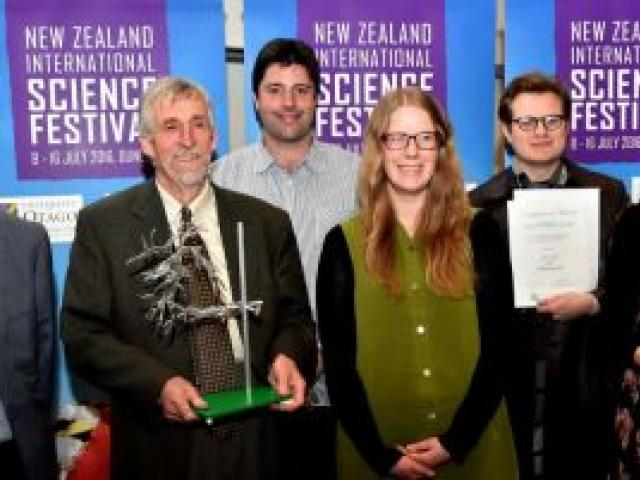 Otago Daily Times community science awards winners (from left) Peter Fennessy (business award), Andrew Innes (sustainability award and lifetime achievement award), Amadeo Enriquez-Ballestero (communicator award), Bianca Sawyer (post-graduate student award