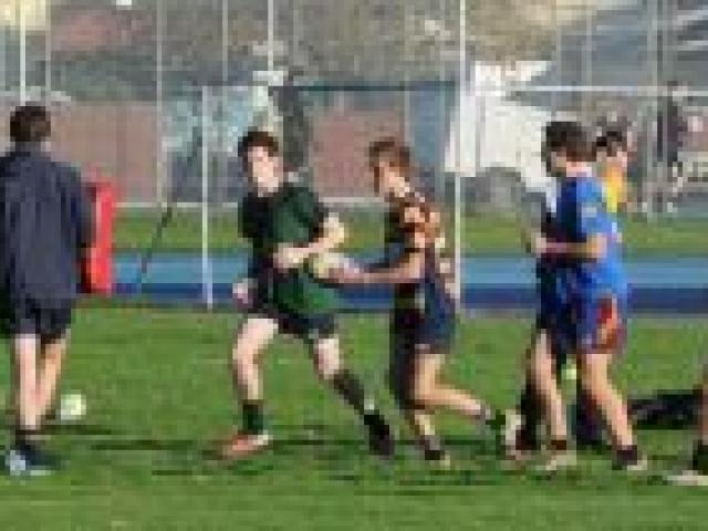 Rugby and netball players train at Taieri College last week. Photo by Craig Baxter.