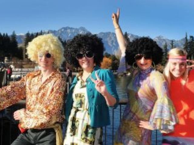 Taking part in the '70s disco workout as part of the Queenstown Winter Festival yesterday are (from left) Kieran Bull, Mitzi Cole-Bailey, both of Queenstown, Jil  Leydon, of Arrowtown, and Alyssa Gibbs, of Queenstown. Photo by Craig Baxter.
