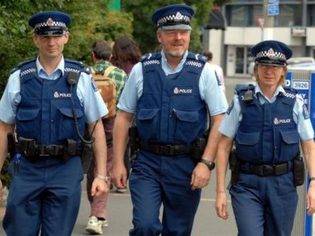 Walking Dunedin's streets are three community policing members (from left) Constable Neil Kettings, Senior Constable Niall Shepherd and Constable Jan Craig. Photo by Gregor Richardson.