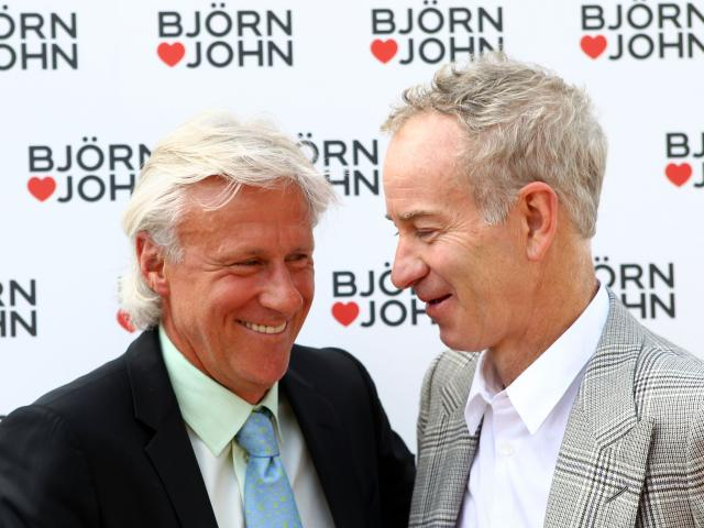 Bjorn Borg with John McEnroe at Wimbledon. Photo: Getty Images