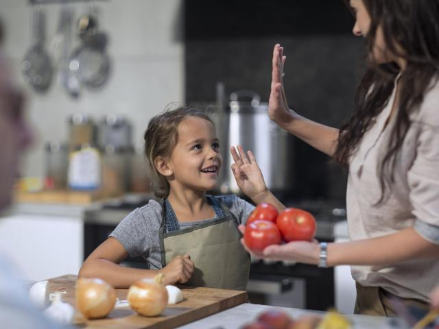 Getting children involving in cooking and/or preparing food as it teaches them where food comes...