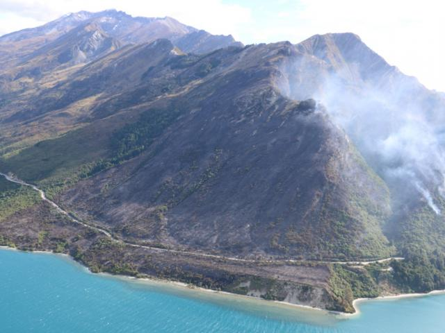 The fire cut off power and road access to Glenorchy. Photo Jimmy Sygrove