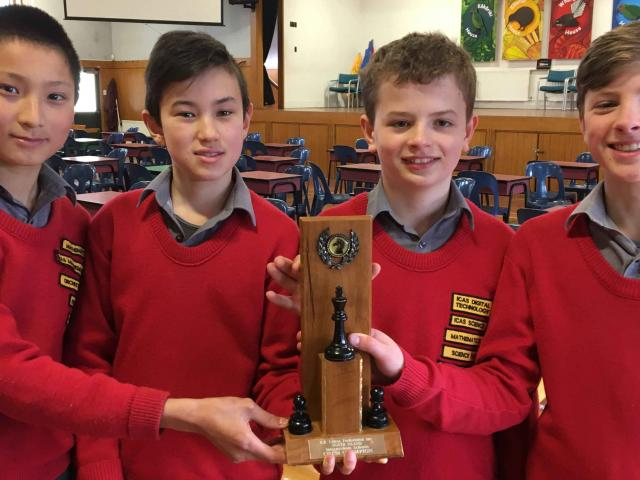 Section winners Alexander Sun, 12. Harrison Tonkin, 12, Oliver Hobbs, 12, Samuel Kelly, 12, of...