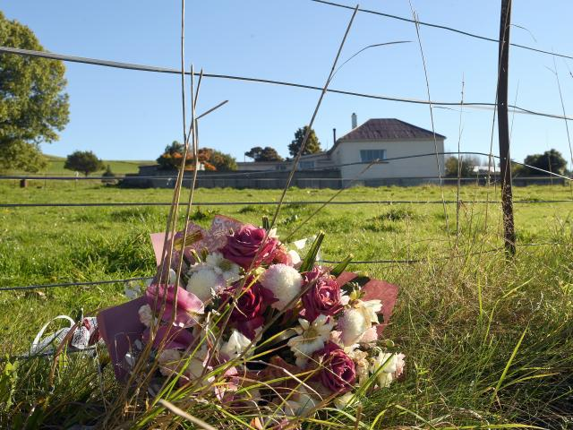 Flowers at the site of the crash. Photo: Stephen Jaquiery