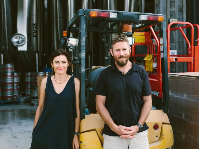 Kirsty McKay and Mike Sutherland from Matakana's Sawmill Brewery.