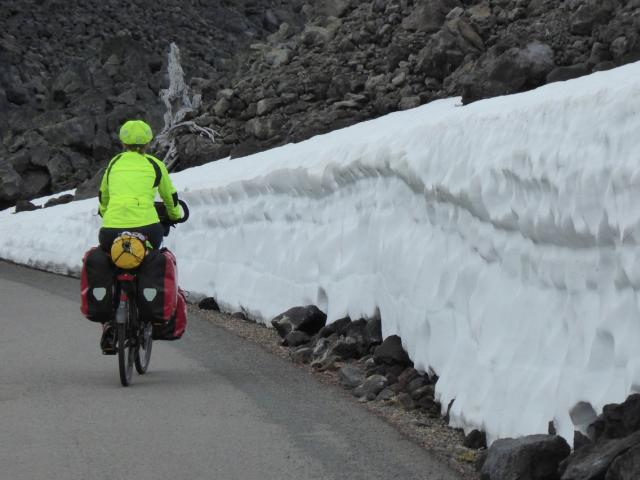 Sharon Fowler cycles the McKenzie Pass in Oregon. PHOTO: KEL FOWLER