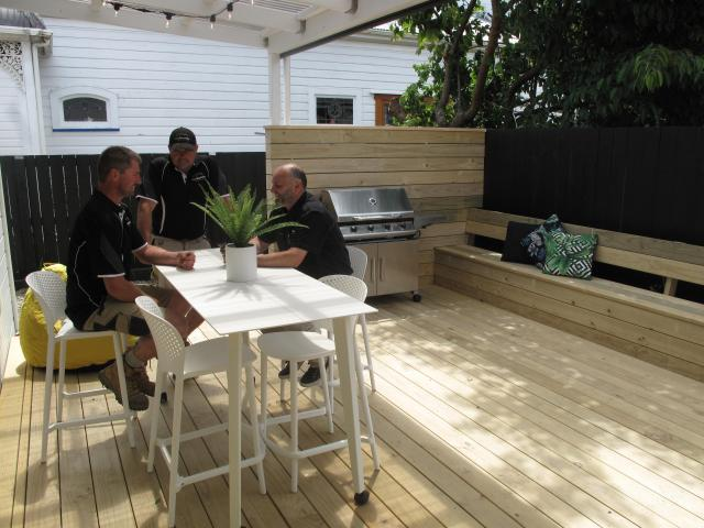 Enjoying the newly renovated deck at 24 Northumberland St.