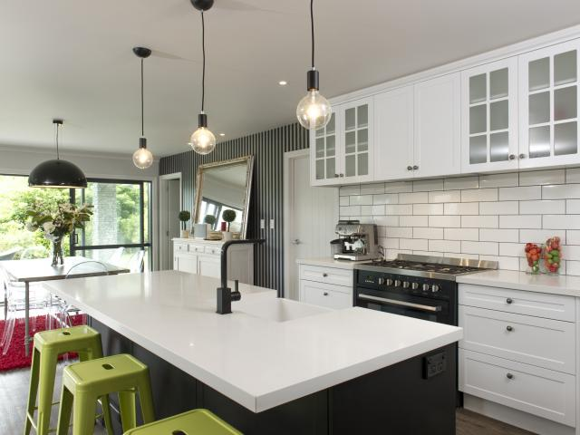 Kitchen in Resene Black White and Resene Black.  Project by Voice Interiors.
