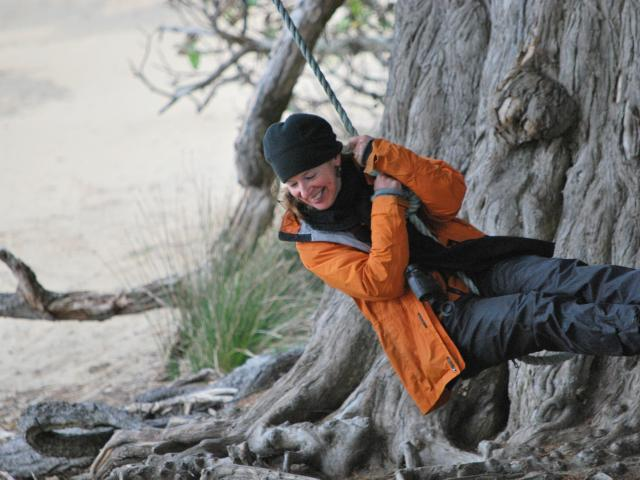 Inge Doesburg absorbs the quiet at Ulva Island Bird Sanctuary. Photos: supplied.