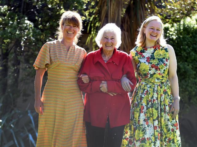 Mona Mathewson (91), of Mosgiel, walks with Monica Lindemann (left) and Rachel Tombs as they...