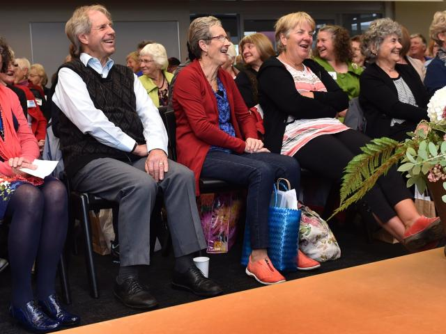 Gardening club members from across Otago respond to a roll-call at the Kindred Group Day at the Sargood Centre in Dunedin on Saturday. Photos by Peter McIntosh.