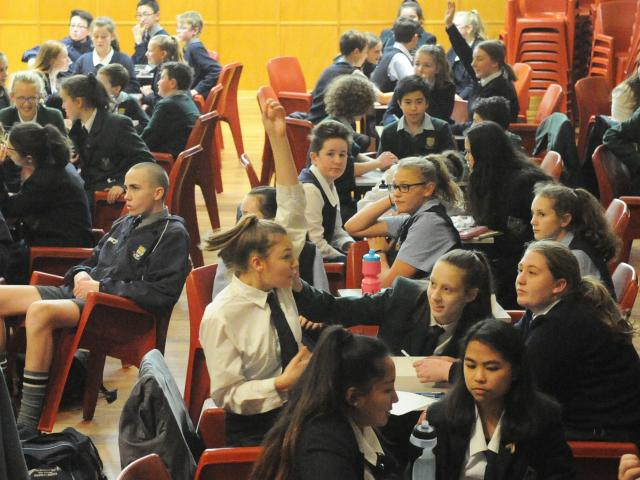 Year 9 and 10 pupils race to answer questions in the Otago Daily Times Extra! Otago regional...