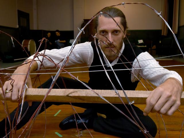 Andrew Glover as conscientious objector Archibald Baxter rehearses for War Hero. Photos: Gregor Richardson