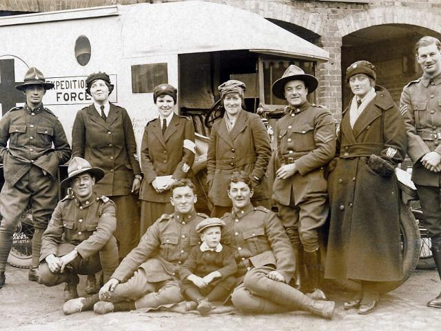 A group of New Zealand ambulance drivers, including Pixie Laing's future husband, Captain Norman...
