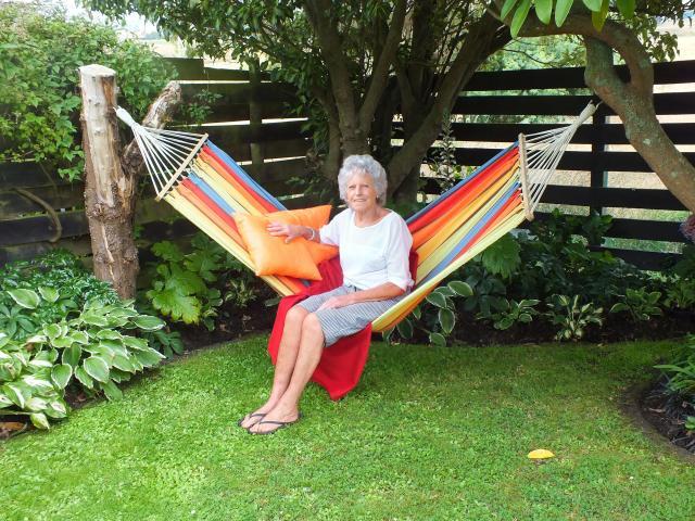 Daphne Turner in her Karitane garden. Photos: Gillian Vine