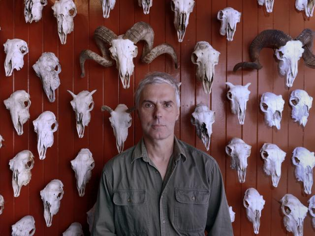 Dunedin Museum of Natural Mystery owner Bruce Mahalski in front of his wall of sheep skulls....