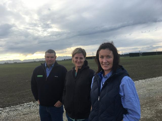Planning is well under way for the 2019 South Island Agricultural Field Days. Organising committee chairman Rodney Hadfield (left), secretary Tineka Johnstone and vice-chairwoman Michaela McLeod survey the Kirwee site. Photos: Supplied