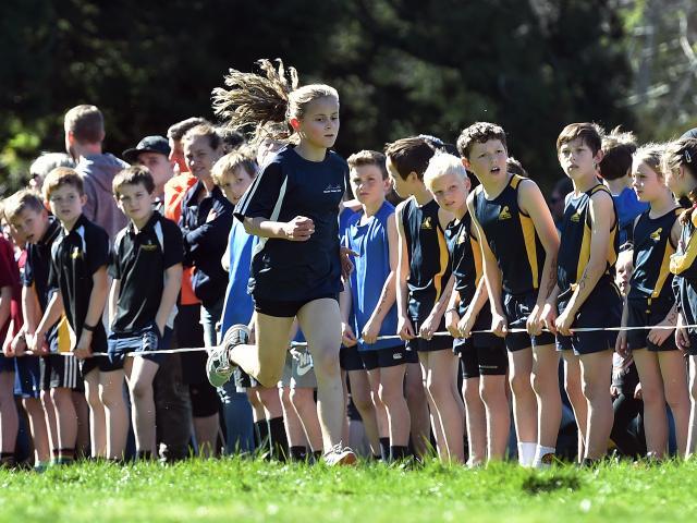 Wanaka Primary School's Cathy David (10) runs during the girls year six race.