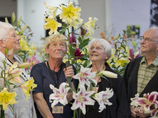 Admiring a lily at the Otago Lily Society show at Forbury Park Raceway on Saturday are (from left...