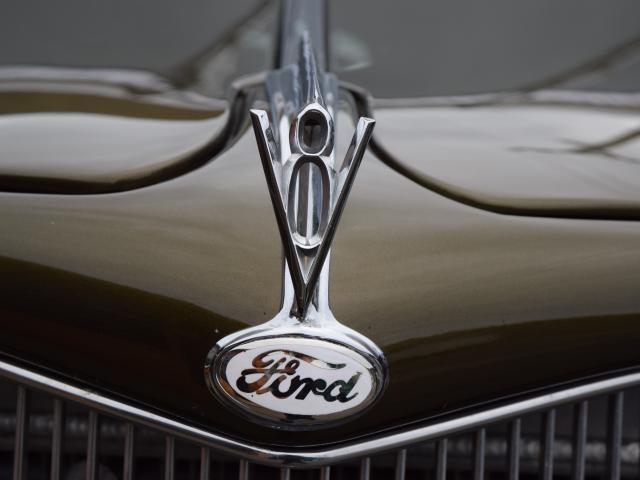 American muscle . . . The bonnet ornament of Mr White's 1935 Ford coupe.