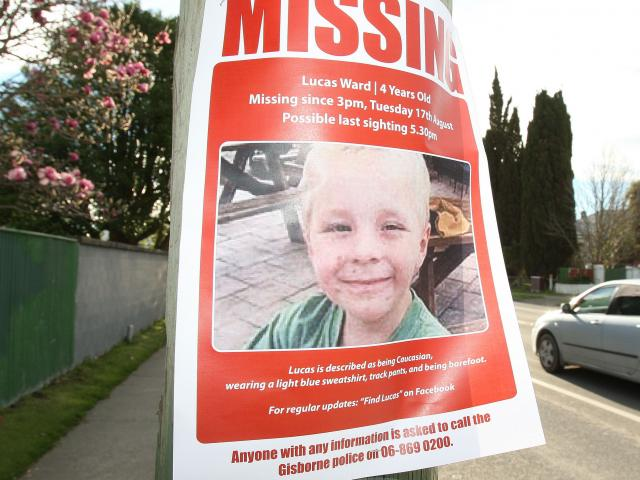A poster distributed during the search for Lucas Ward (4) in Gisborne. Photo by NZPA.