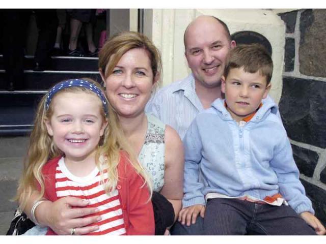 Amelie Warlow (5), Sally Warlow, Richard Warlow, Alex Warlow (7).