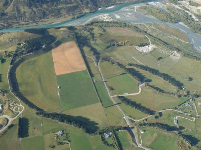 An aerial view of some of the land that would be divided  for residential homes in the Shotover...