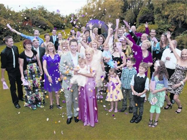 Becky and Steve Weir with their guests at their Invercargill wedding earlier this year. Photo by...