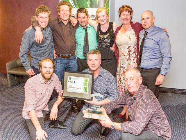 Design & Garden Landscapes' team at the LNZ awards in Wellington (back row, from left) Matt...