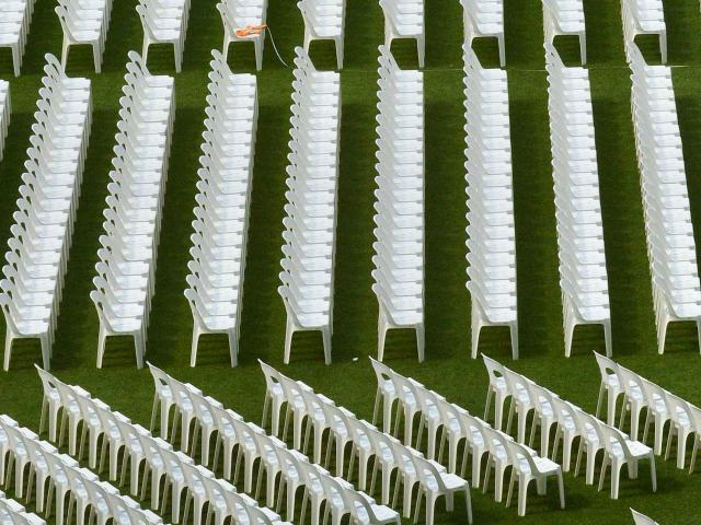 Seats fill the turf at Forsyth Barr Stadium. Photo by Gerard O'Brien.