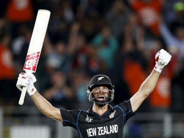 Grant Elliott celebrates after hitting the winning runs against South Africa. REUTERS/Nigel Marple