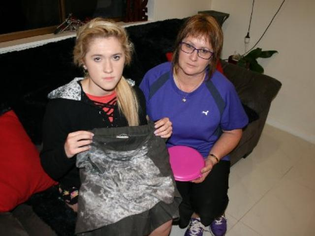 Invercargill teenager Jessica Reid (15) and her mother, Linda, with the  skirt she was wearing...