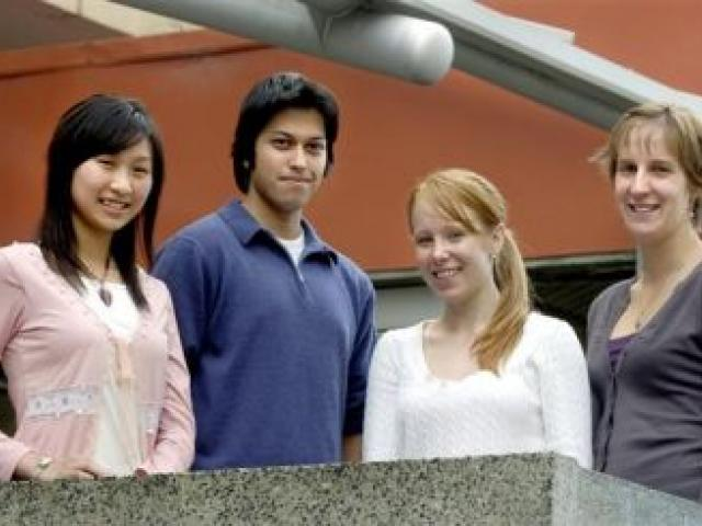 Celebrating success . . . Recipients of academic awards are University of Otago bachelor of medical science honours students (from left) Tzu-Yun (''Alice'') Chung, Prabal Mishra, Annika Sjoeholm and Yoska Eerens. Photo by Jane Dawber.
