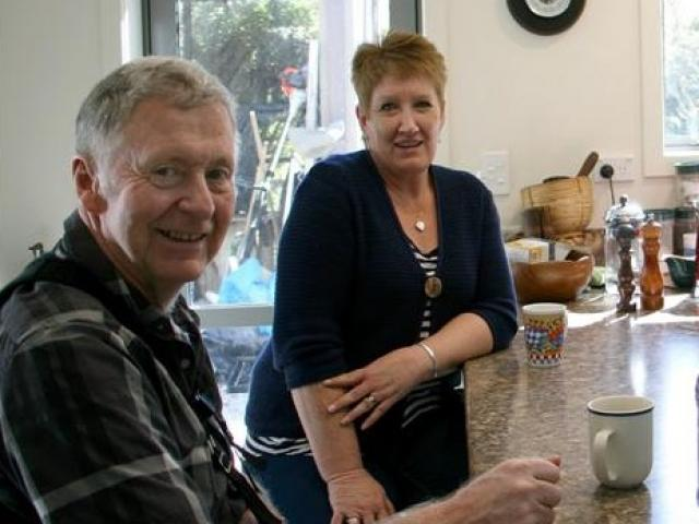 Peter (left) with carer Rachel Greer  in the renovated self contained flat in the Diver home....